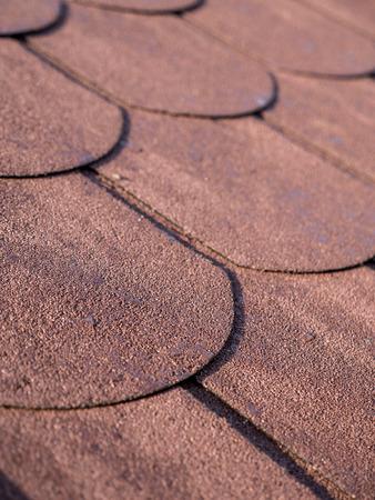 asphalt shingles: Closeup of bitumen shingle roof pattern Stock Photo