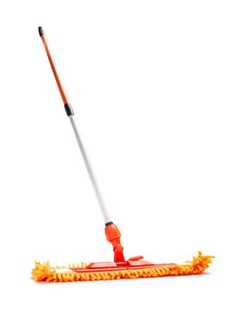 fringes: Orange microfiber mop isolated on white background Stock Photo