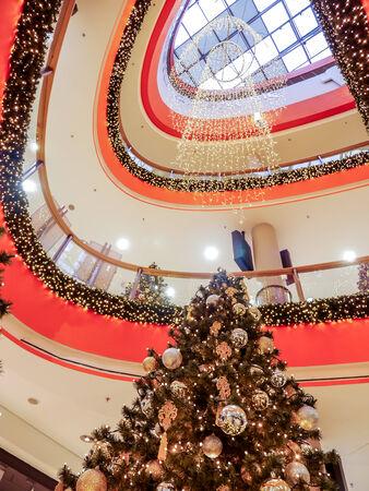 KRAKOW, POLAND - DECEMBER 22 2013: Galeria Krakowska Shopping Center decorated with christmas trees and ornaments, Krakow, Poland
