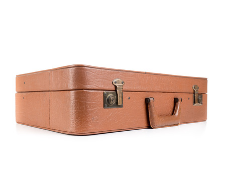 Classic Leather Suitcase Shot On White Background Stock Photo ...