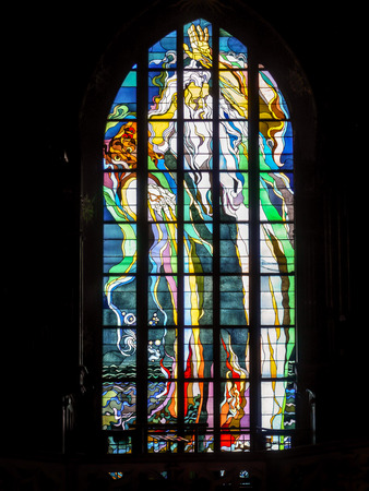 KRAKOW, POLAND - DECEMBER 26 2012: Stained Glass Window in Church of St. Francis of Assisi