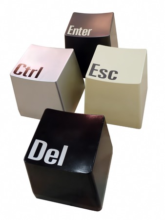 esc: Ctrl, Del, Esc and Enter keyboard keys isolated on white