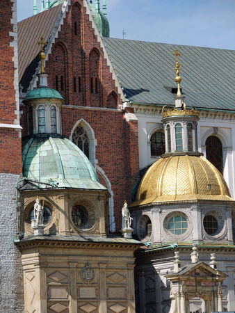 wawel: Two Royal Chapels, right - Renaissance Sigismunds Chapel, left is the Baroque Vasa Chapel  of the Wawel Cathedral, in the Royal Wawel Castle, Krakow, Poland Editorial
