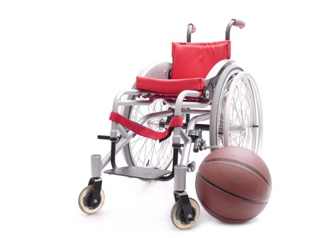 invalidity: Active wheelchair with basketball shot over white background