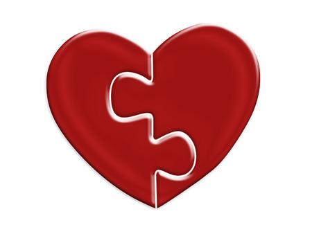 Twee helften van de puzzel van rood hart op wit