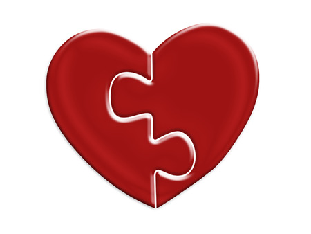 metaphoric: Two jigsaw halves of red heart on white