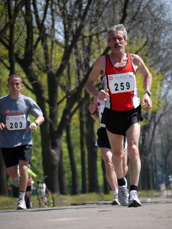 cracovia: Marathon racer taking part in International Cracovia Marathon, held annually in Krakow, Poland