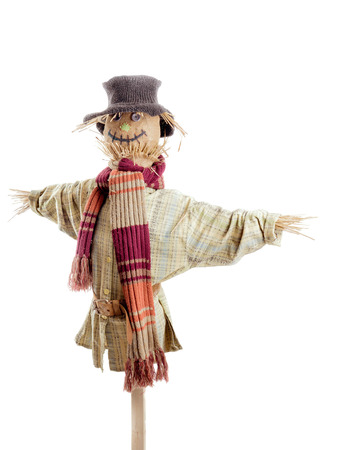 Scarecrow against the white background Stock Photo