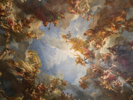 baroque room: VERSAILLES, FRANCE - AUGUST 28 2013: Ceiling fresco of one of many ornamental chambers of the Versailles Palace, France