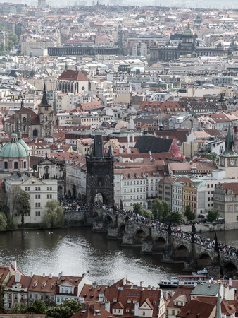 charles bridge: Charles Bridge full of tourists, Prague, Czech Republic