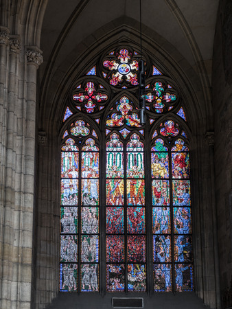 vitus: Ornamental Stained glass in historical St Vitus Cathedral, Prague castle, Czech republic