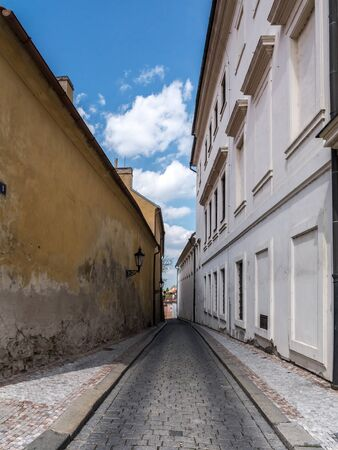 castle district: Narrow cobble street in Prague Castle district, Czech republic Editorial