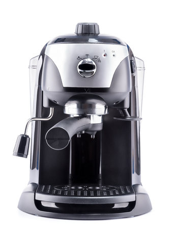 Modern coffee machine on white background