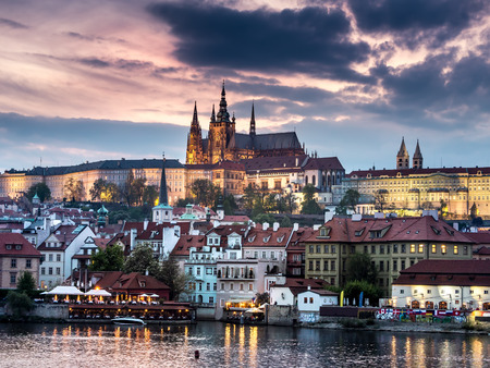 prague: Prague Castle at dusk, Prague, Czech Republic Stock Photo