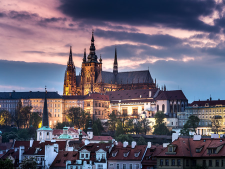 Prague Castle at dusk, Prague, Czech Republic Stock Photo