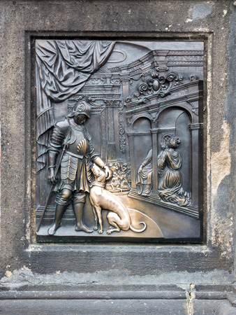 affixed: One of two plaques affixed to St. John Of Nepomuk Statue on the Charles Bridge, Praque, Chech Republic