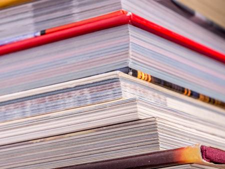 hardcover book: Cloeup of pile of books