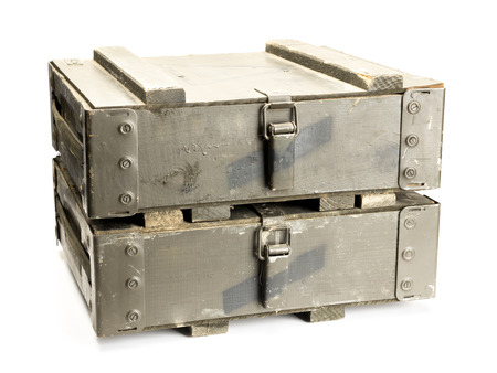 Two old wooden ammunition boxes shot on white background