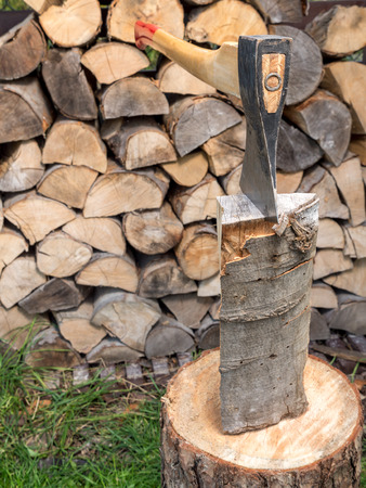 driven: Chopping block with axe driven into log