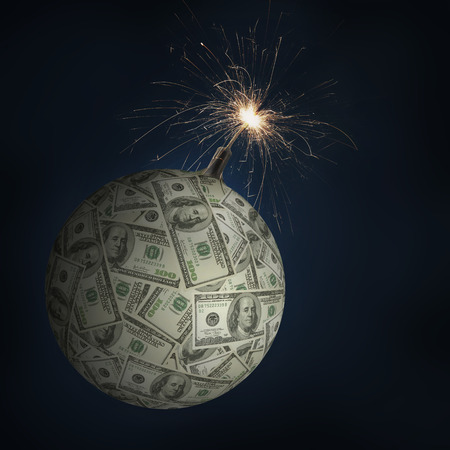 American one hundred dollar sphere as money bomb with burning fuse being a concept of global financial collapse