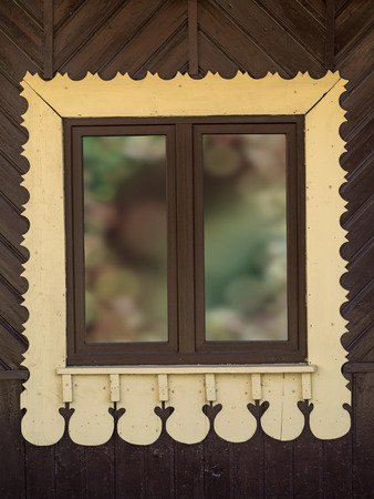 framing: Rustic wooden window with ornamental framing