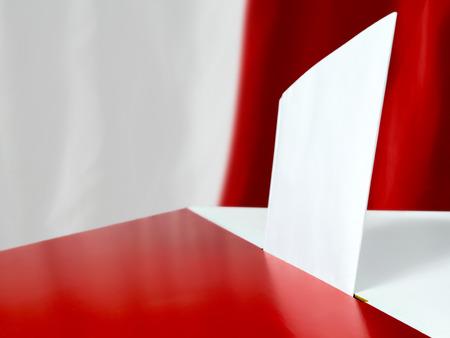 背景としてポーランド フラグに対して投票箱で投票カード