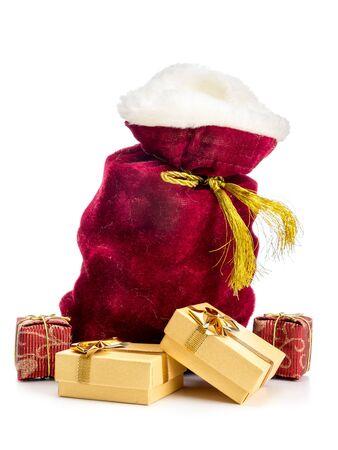 sackful: Santa Claus bag full of christmas presents over white background