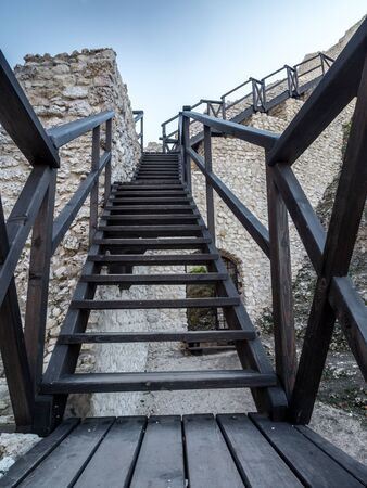 upland: Wooden stairway in the ruins of medieval castle Smolen, located on the Trail of the Eagles Nest within the Krakow-Czestochowa Upland, Poland