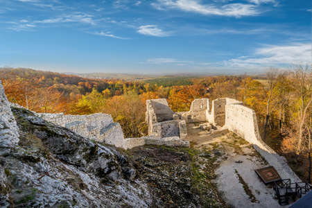 upland: Ruins of medieval castle Smolen, near Pilica. located on the Trail of Eagles Nest within the Krakow-Czestochowa Upland, Poland