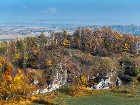 upland: Panoramic view of Krakow-Czestochowa Upland as seen from the Ruins of medieval castle Smolen, located on the Trail of Eagles Nest, Poland