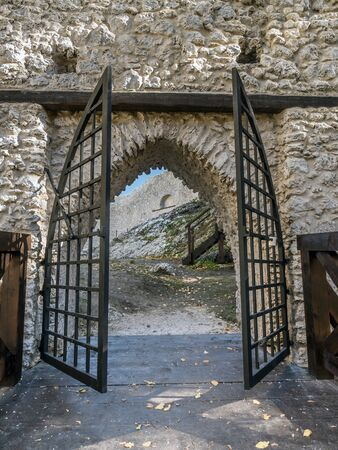 upland: Entry gate of medieval castle Smolen, located on the Trail of the Eagles Nest within the Krakow-Czestochowa Upland, Poland