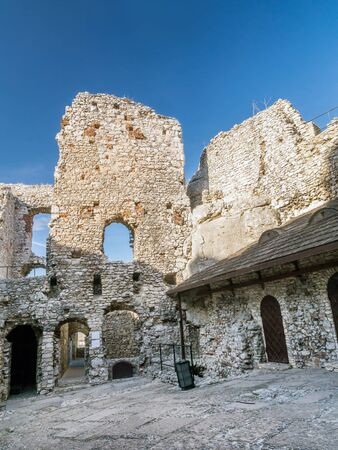 ogrodzieniec: Ruins of medieval castle Ogrodzieniec, located on the Trail of the Eagles Nest within the Krakow-Czestochowa Upland, Poland Editorial