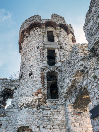 upland: Ruins of medieval castle Ogrodzieniec, located on the Trail of the Eagles Nest within the Krakow-Czestochowa Upland, Poland Editorial