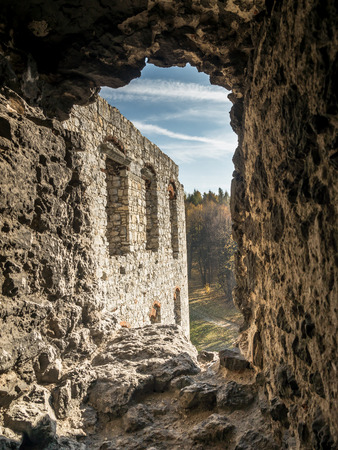 fortified wall: Fortified wall embrasure one of many in the medieval castle Ogrodzieniec, located on the Trail of the Eagles Nest within the Krakow-Czestochowa Upland, Poland Editorial