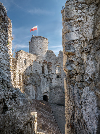 jura: Ruins of medieval castle Ogrodzieniec, located on the Trail of the Eagles Nest within the Krakow-Czestochowa Upland, Poland Editorial