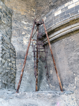 PRAGUE, CHECH REPUBLIC - MAY 2 2015: Old torture device in White Tower of Prague Castle