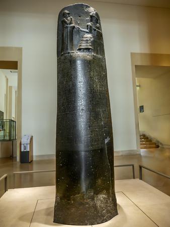 stele: PARIS, FRANCE - AUGUST 28 2013: - Law Code of Hammurabi stele, exhibited in Louvre Museum
