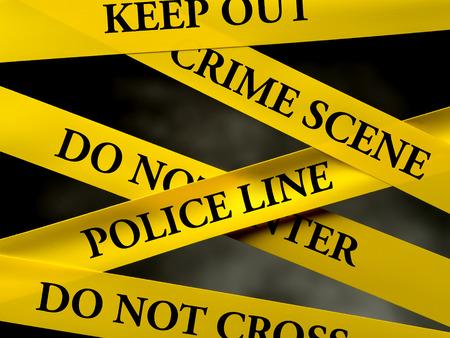 ámbito delictivo restringido por varias cintas de línea de policía amarillo