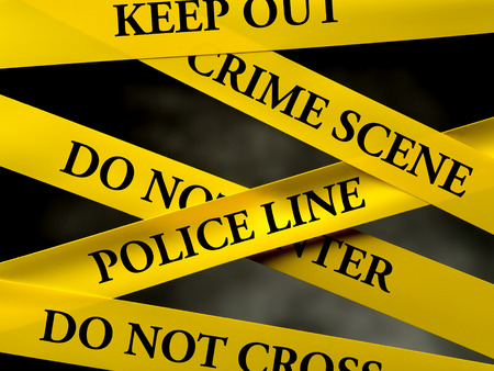murder scene: Crime area restricted by several yellow police line tapes