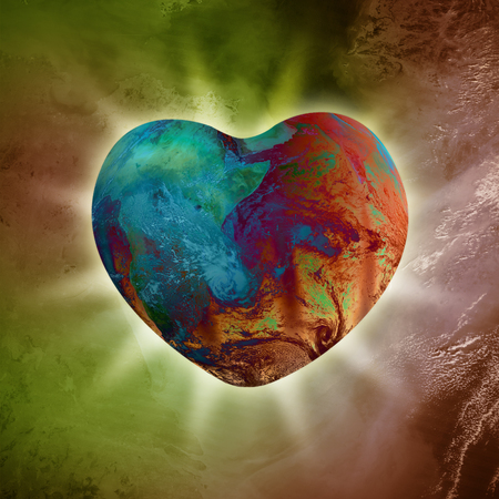 new age: Conceptual image of Heart-shaped Planet Earth emanating with pure love energy Stock Photo