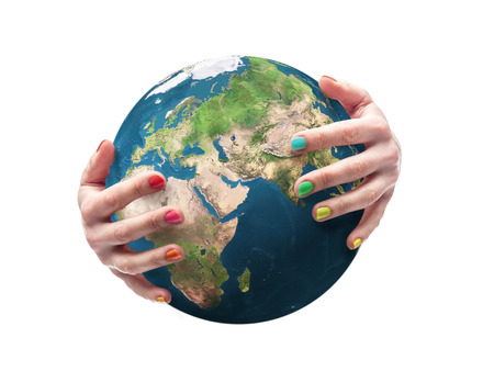 harmless: Earth globe being embraced by female hands with fingernails polished in multiple colors. Some elements of this image taken from NASA archive