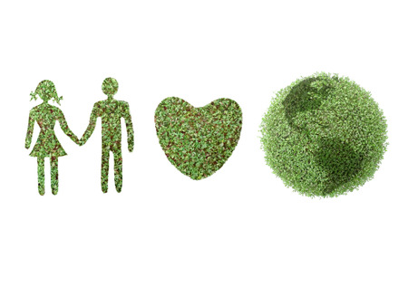 supportive: Green icons of female and male, Heart, and Earth globe on white