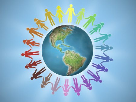 surrounding: Female and male icons surrounding Earth globe as human unity concept