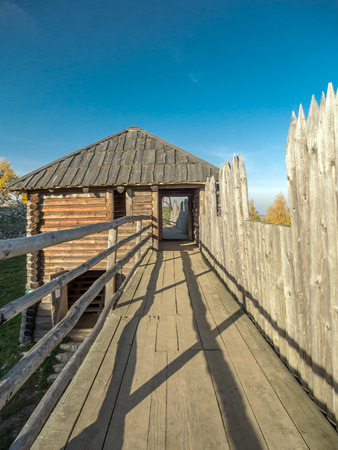 reconstructed: Reconstructed Slavic Burgwall at Bir?w near Ogrodzieniec Stock Photo