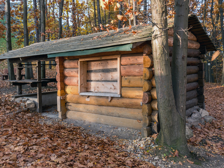 lodge: Wooden rustic camping lodge in the forest Stock Photo