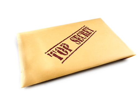 top secret: Yellow envelope with top secret files on white background Stock Photo