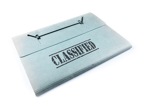 top secret: Folder with classified files on white background Stock Photo