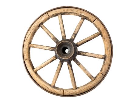 carreta madera: Rueda de carro de madera aislada sobre fondo blanco Foto de archivo