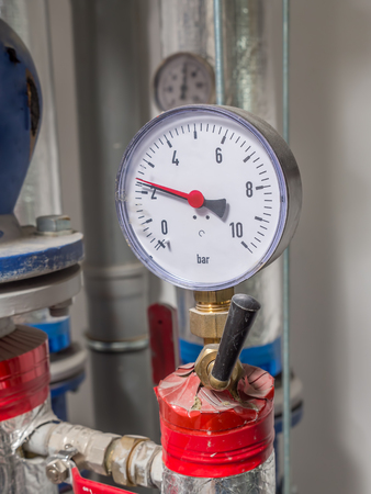 Water Valve With Pressure Gauge Mounted In Boiler Room Stock Photo ...