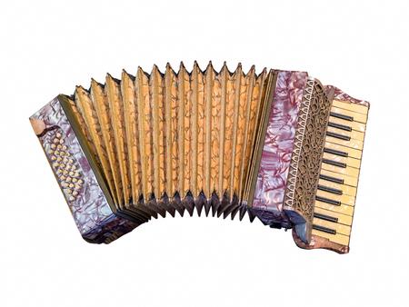 acordeon: acordeón de la vendimia sobre el fondo blanco